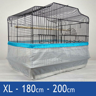 Seed Catcher Guard Cage Tidy Mess Protection Pile Bird Parrot Blue XL 200cm