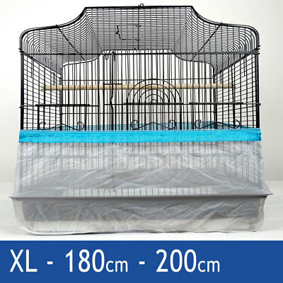 Blue XL 200cm Seed Catcher Guard Cage Tidy Mess Protection Pile Bird Parrot