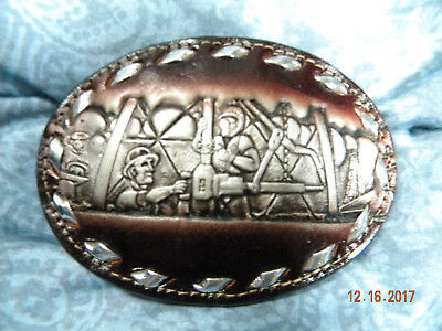 Joe Brazos Leather Belt Buckle. Oil Rig Workers. Very good condition