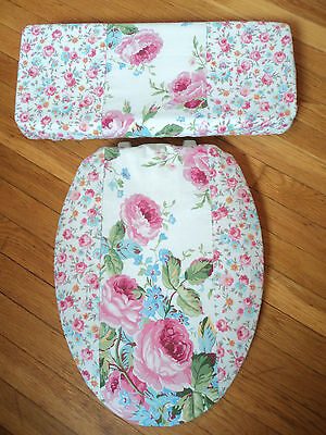 Shabby Victorian Vintage Pink Rose Chic Elongated Toilet Seat Lid Cover Set