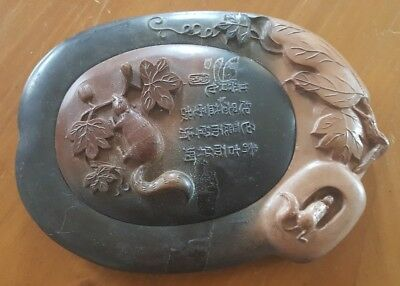 Oriental Carved Stone Ink Well