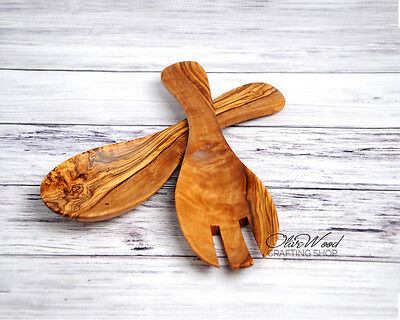 "Gift Idea! Handmade Olive Wood 9"" Curved Salad Servers, Serving Spoon and Fork"