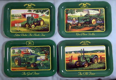 4 Brand New Reproduction JOHN DEERE TRACTOR Tin Tip Coin Dollar Trays Retro