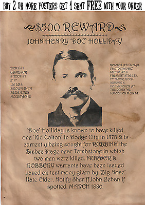 Poster Wanted Doc Holliday Earp Ringo Tombstone Ok Corral Wyatt Outlaw Cowboy