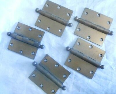 "5 Vintage McKinney Ball Tip 3-1/2"" by 3-1/2"" DOOR HINGES part number 2714"