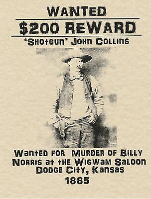 Wanted Poster Cowboy Western Old West Earp Holliday Bank Outlaw Bandit Sheriff
