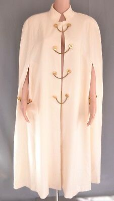 Vintage 70s Ivory Wool Wrap Coat Cloak Long Wool Cape One Size Gold Buttons