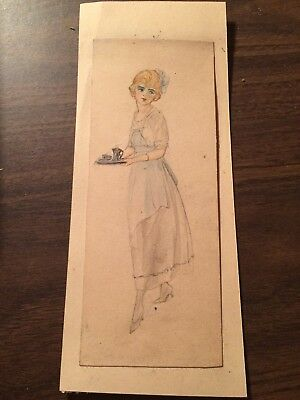 """Vintage 1917 Authentic Original Elizebth Youman Pen And Ink 7"""" tall"""