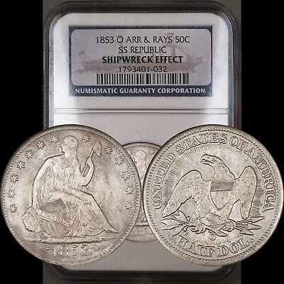 1853-O Arrows & Rays Seated Half 50C NGC SS Republic Shipwreck - High Grade