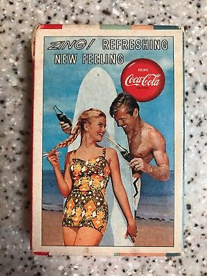 Coca Cola Playing Cards New Old Stock 1960 Zing Surfer Couple w Board Tax Stamp