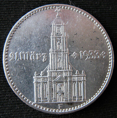 4 Swastikas With Date 1934 2 Mark Potsdam Church German Silver Nazi Germany Coin