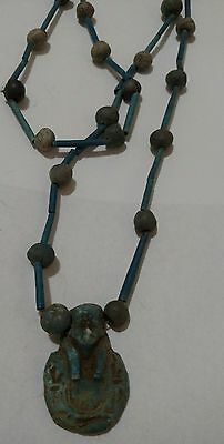 "Amazing Egyptian Terracotta Necklace Mummy Beads, with USHABTI Amulet, 32"" /5"