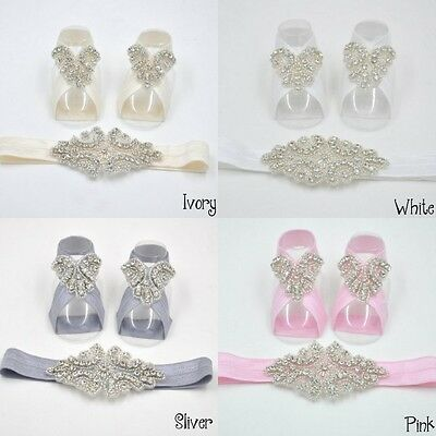 Baby Girl Summer Christening Rhinestone Diamante Headband + Shoes (Set)