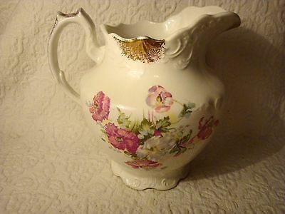 "Vintage Hand Painted Floral Porcelain Pitcher Gold Trim ""Naomi"""