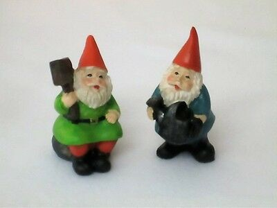 Twotwo  Lucky Mini Garden Gnomes With Welcome Sign And Watering Can 7 Cms Tall