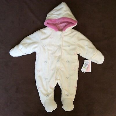 Juicy Couture INFANT Girls PRAM Snow Suit Ivory Heart Print Size 3/6 Months NWT