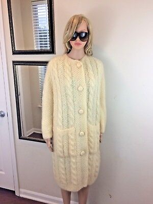 VTG 60s 70s MOHAIR OVERSIZED Chunky Cable Aran Knit Cardigan Maxi SWEATER COAT