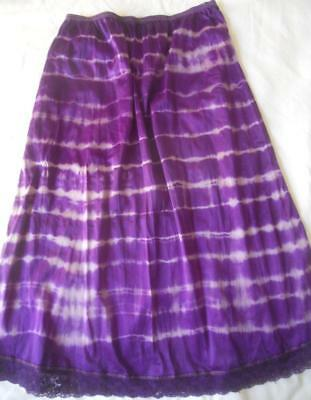 Fabulous Hippie Boho Purple Stripes Tie Dye Half Slip Size 14-16