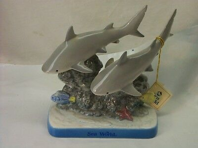 Sea World Pair Of Ceramic Hand Painted Sharks New With Tag