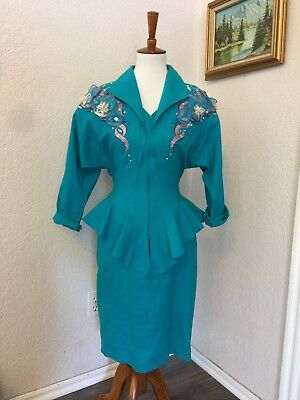 Costume Party Women's  Vintage 100% Cotton Size 8 Embellished country dress. 80s