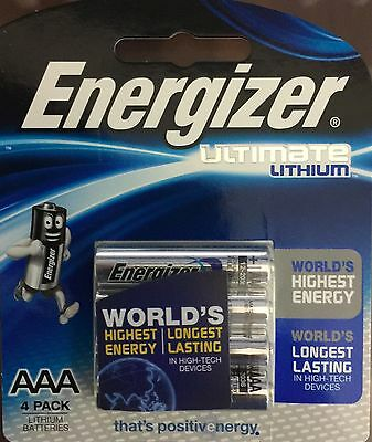 Energizer  Aaa Ultimate Lithium 4 Pack  Batteries New & Sealed