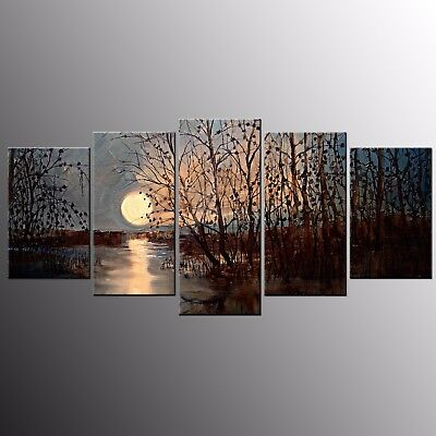 Canvas Prints Moon Canvas Oil Painting Wall Art Painting Picture Home Decor-5pcs