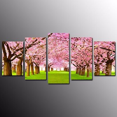 Canvas Prints Pink Flower Trees Road Canvas Wall Art Painting Home Decor-5pcs