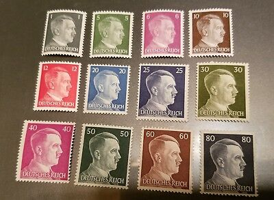 WW2 WWII Nazi Germany 12 Adolf Hitler head stamps -MNH-