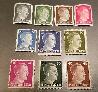 WW2 WWII Nazi Germany 10 Adolf Hitler head stamps -MNH-