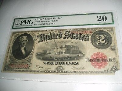 Pmg Fr 60 1917 Legal Tender Note Jefferson Red Seal Very Fine 20