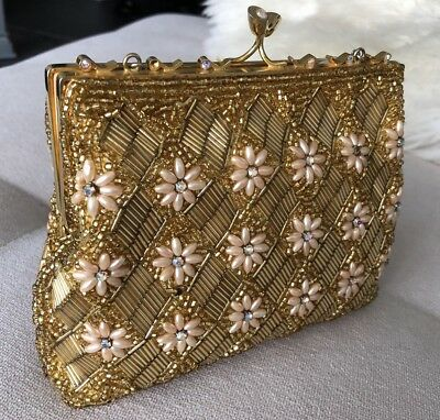 Gold Vintage Beaded Clutch