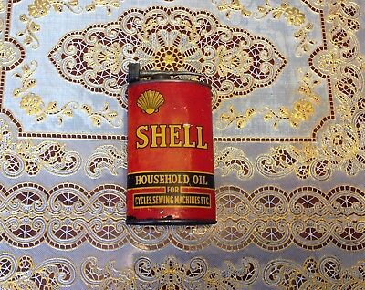Shell 8 FL.OZ Household oil tin for cycles and sewing machines made in Australia