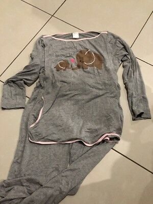 Maternity Bag Breastfeeding PJ's pyjamas - Grey - Size M