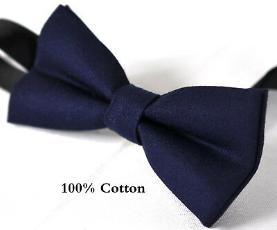 Boy Teenage 100% Cotton NAVY Blue Bow Tie Bowtie Party Wedding 7-14 Years Old