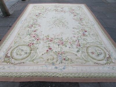 Old Hand Made French Design Wool Beige Pink Green Original Aubusson 369X272cm