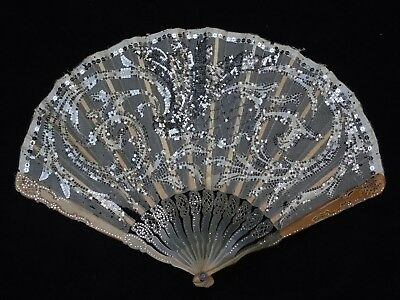 Antique Tiffany & Co. Lace Hand Fan In Box