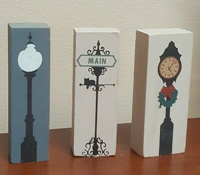 Cats Meow Lot of 3 Wooden Accessories Clock, Street Light, Main St. Sign