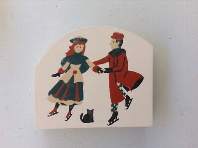 Cats Meow Village RUDY & ADLINE Wood Accessory Retired 1989 Skater
