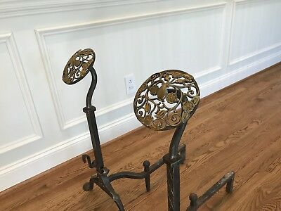 Pair of Arts and Crafts hand forged bronze and iron andirons