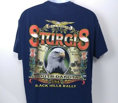 2013 Sturgis Motorcycle Rally T Shirt XL Blue Hanes Harley Vintage Style 80s 90s