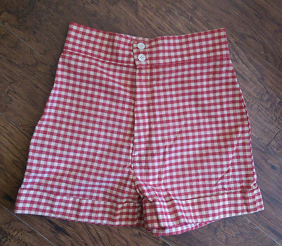 VTG* early 60's* Gidget* plaid check high waisted shorts* 6/8* Union made* USA*