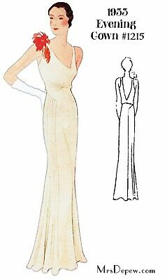 Vintage Sewing Pattern 1930s Evening Gown in Any Size- PLUS Size Included #1215