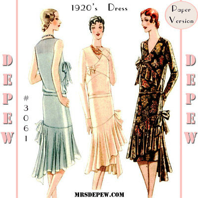 Vintage Sewing Pattern Ladies' 1920s Maggy Rouff Couture Designer Dress #3061