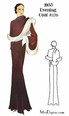 Vintage Sewing Pattern 1930s Evening Coat in Any Size- PLUS Size Included #1176