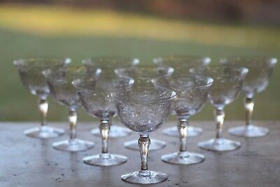 10 Webb Finely Engraved Cut Glass Champagnes C. 1925