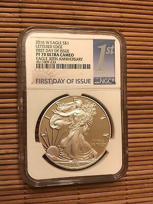 2016 W Proof Silver Eagle Ngc Pr70 First Day Of Issue Fdoi 30Th Anniversary
