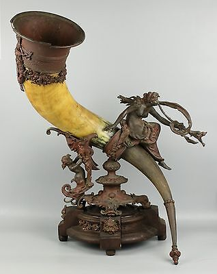 Antique large german mounted Drinking Horn
