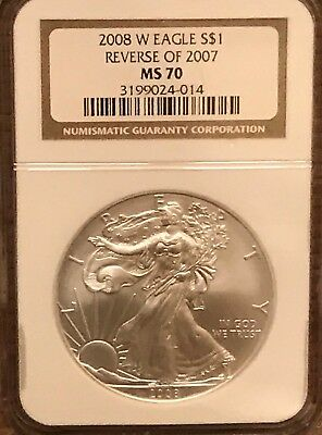 2008 W Reverse of 2007 Burnished Silver Eagle NGC MS 70