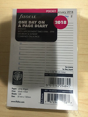 Filofax Pocket Diary 2018 Refill 18-68241 One Day Per Page English Appointments
