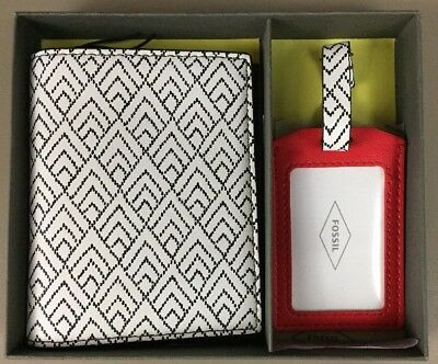 NWT Fossil Keely Passport Holder & Luggage Tag Set Chevron Red Black White $55